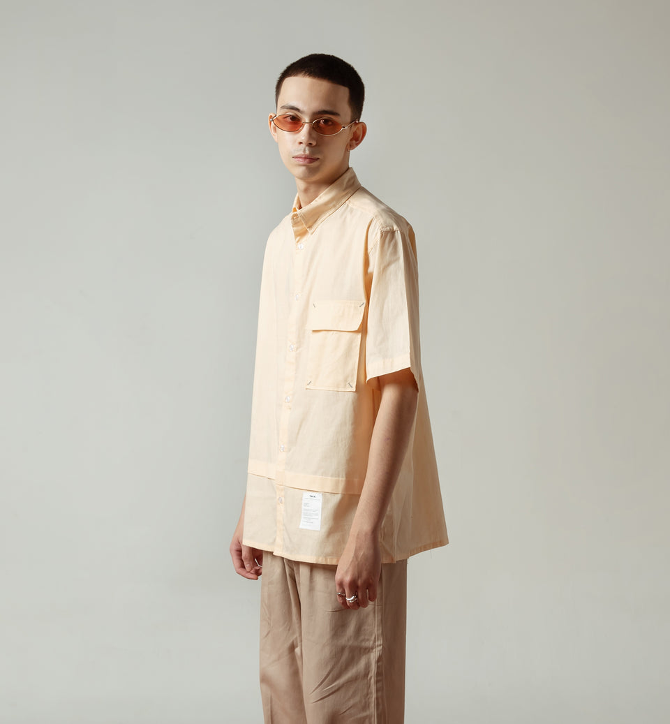 GEO LIGHT PEACH BOXY SHIRT