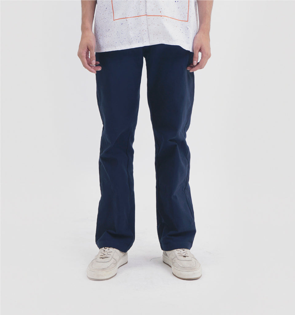 HELVE COTTON PANTS NAVY