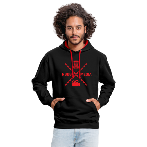 NBDG Media X - Contrast Colour Hoodie - black/red