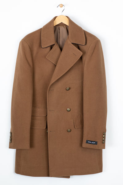 Double Breasted Solid Wool Blend Top Coat