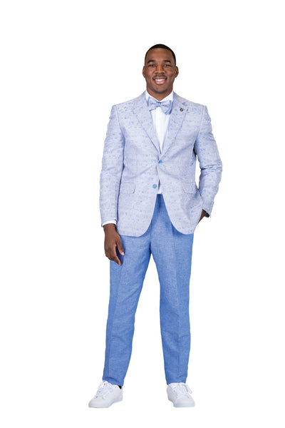Slim Fit 2 Pc. Notch Lapel Plaid Floral Suit-Peak Styles