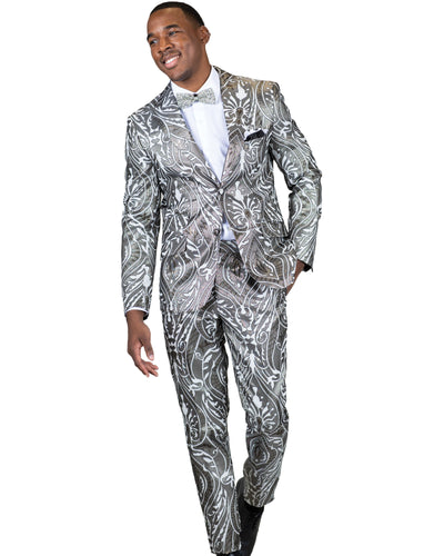 Skinny Fit 2 Pc. Peak Lapel Fancy Pattern Suit-Peak Styles