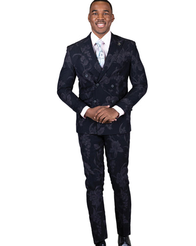 2 Pc. Peak Lapel Tonal Floral Double Breasted Suit-Peak Styles