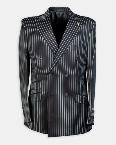 2 Pc. Peak Lapel White Stripe Double Breasted Suit-Peak Styles