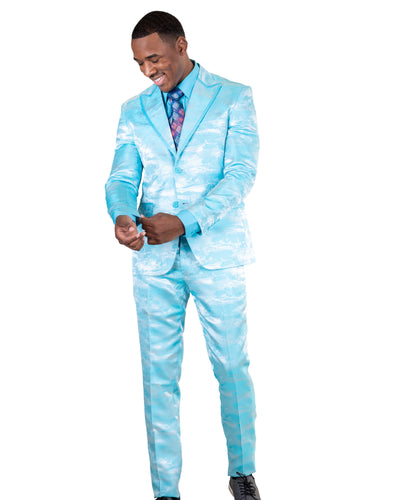 Slim Fit 2 Pc. Peak Lapel Tonal Tie-Dye Suit-Peak Styles
