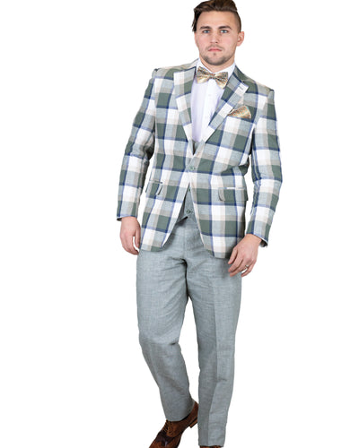 3 Pc. Notch Lapel Plaid Linen Blend Suit-Peak Styles