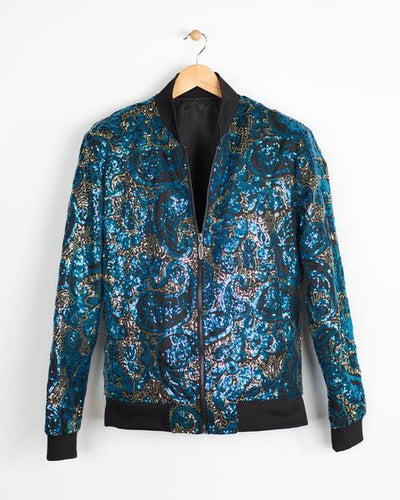 Sequined Paisley Bomber Jacket