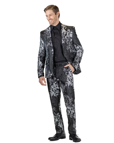 Skinny Fit 2 Pc. Peak Lapel Raised Pattern Suit-Peak Styles