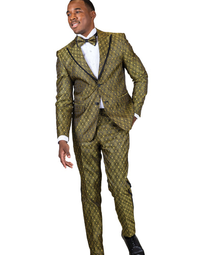 Skinny Fit 2 Pc. Peak Lapel Geo Pattern Suit w/ Bowtie-Peak Styles