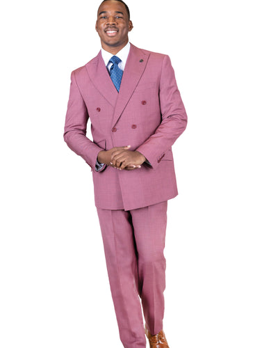 2 Pc. Peak Lapel Solid Double Breasted Suit-Peak Styles