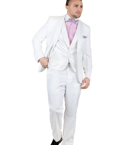 3 Pc. Shawl Lapel Solid Suit w/ Bowtie-Peak Styles