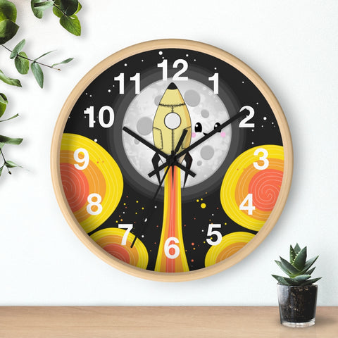 Moon Blast Off! Wall Clock