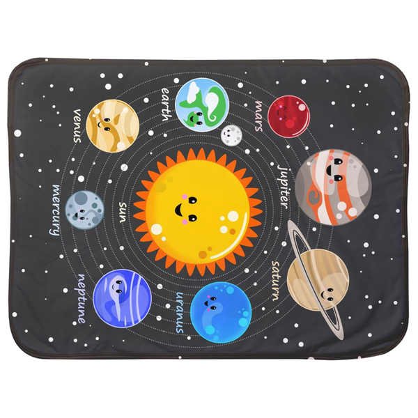 Solar System Kawaii Style Sherpa Blankets (Infant Sizes) - Krokoneil