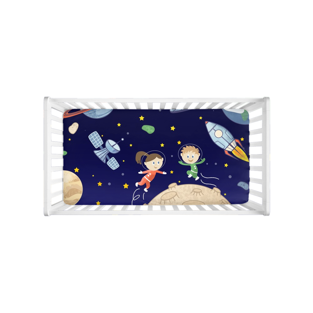 Kids in Space Crib Sheet