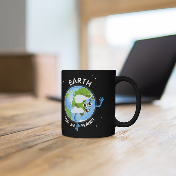Planet Earth Black Mug