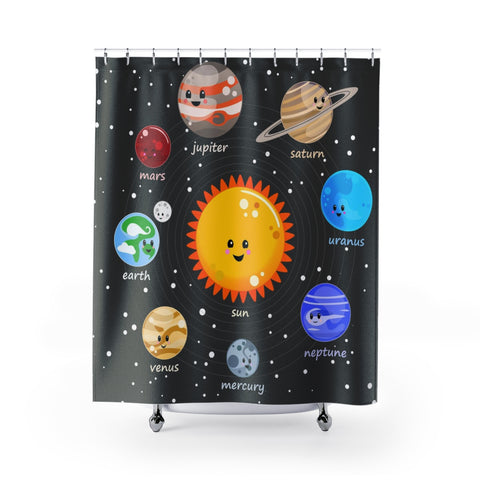 Solar System Kawaii Style Shower Curtains - Krokoneil