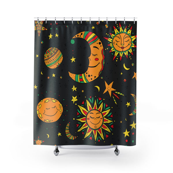 Moon, sun and star shower curtains - Krokoneil