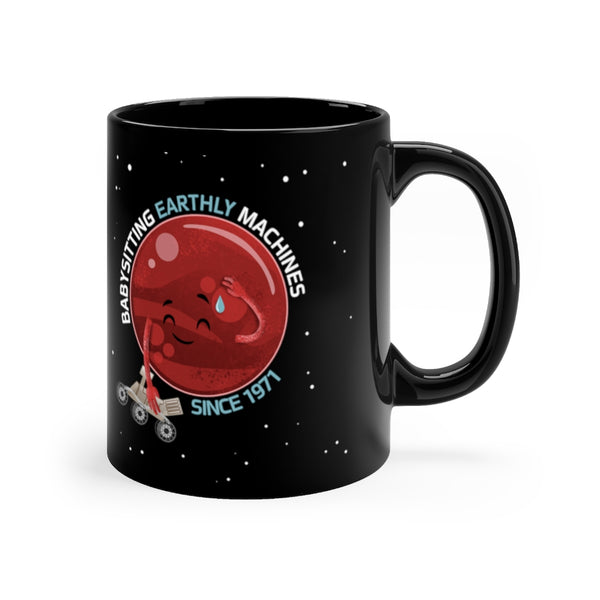 Mars and Rovers Black Mug