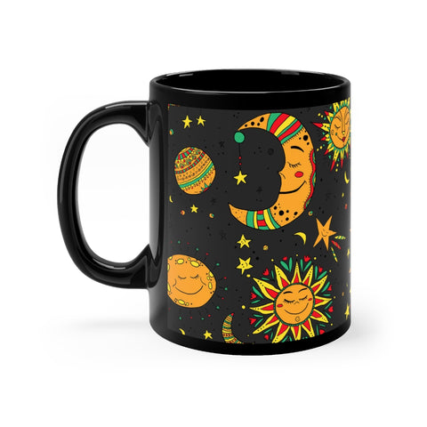 Moon, sun and stars Black mug 11oz - Krokoneil