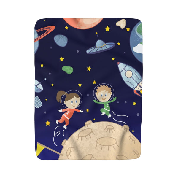 Space kids Sherpa Fleece Blanket - Krokoneil