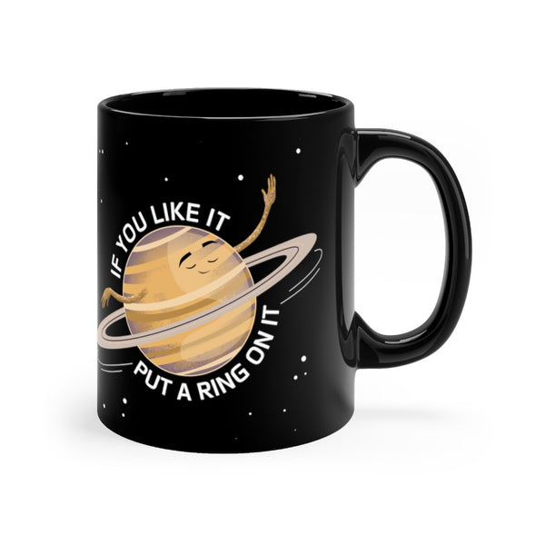 Saturn's Rings Black Mug