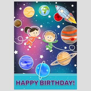 Happy Space Birthday Flat Card