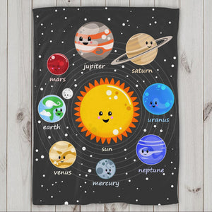 Kawaii Solar System 60x80 Fleece Blanket