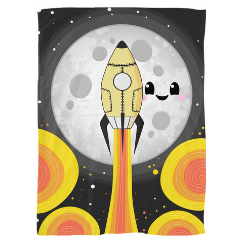 Moon Blast Off! Fleece Blanket