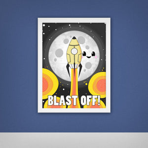 Moon Blast Off! Framed poster