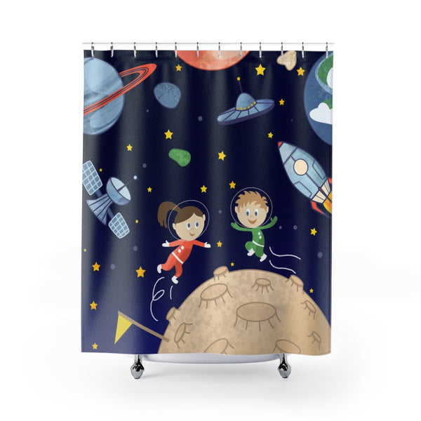Space kids Shower Curtains - Krokoneil