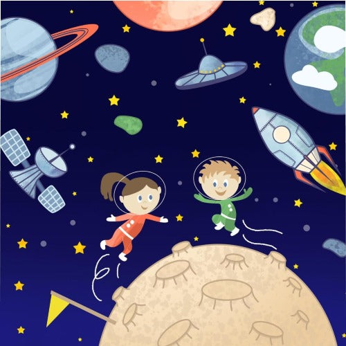 Space Astronauts Kids Queen Duvet Cover