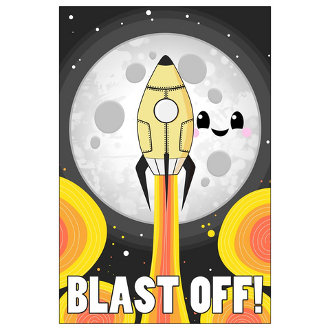 Moon Blast Off! Flat Greeting Card