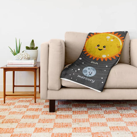 Kawaii Solar System 50x60 Throw Blanket
