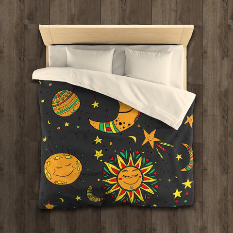 Moon, stars and sun duvet cover