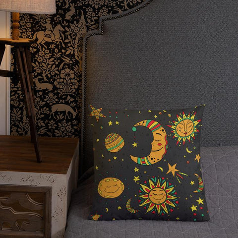 Moon, Sun and Stars Throw Pillow