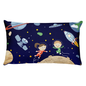 Space kids Rectangular Pillow - Krokoneil