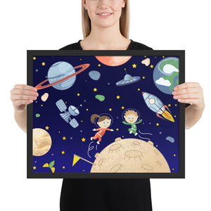 Space kids Framed poster - Krokoneil
