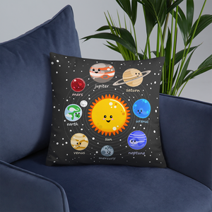 Kawaii Solar System Throw Pillow