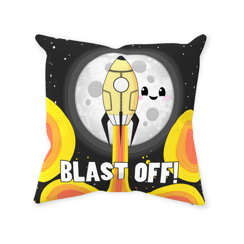 Moon Blast Off! Throw Pillow