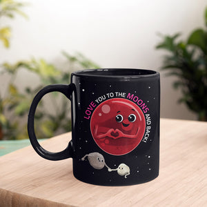 To the Moons & Back Black Mug