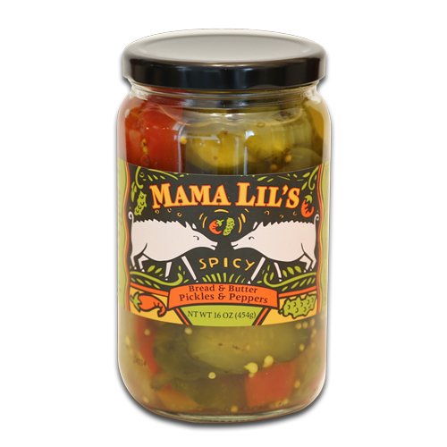 Mama Lil's Bread & Butter Pickles and Peppers (Original) - 16oz. 6-pack