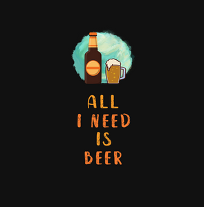 ALL I NEED IS BEER HALF-SLEEVE T-SHIRT (BLACK) - antherr