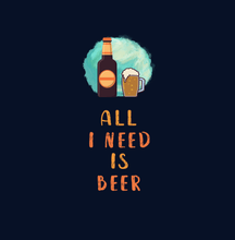 "Load image into Gallery viewer, ""ALL I NEED IS BEER"" - HALF SLEEVE CROP TOP (BLACK)"