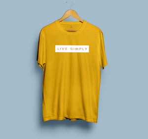 """ LIVE SIMPLY "" HALF-SLEEVE T-SHIRT (YELLOW) - antherr"