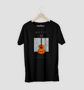 MUSIC SPEAKS EVERYTHING HALF SLEEVE T-SHIRT (BLACK) - antherr