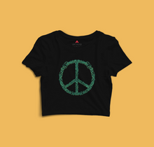 Load image into Gallery viewer, PEACE HALF-SLEEVE CROP TOP (BLACK) - antherr