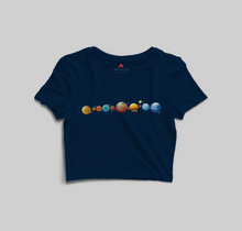 Load image into Gallery viewer, PLANETS HALF-SLEEVE CROP TOP - antherr