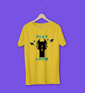 PLAY IT LOUD HALF-SLEEVE T-SHIRT (YELLOW) - antherr