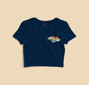 """ LOVE IS PRIDE  "" -HALF-SLEEVE CROP TOPS - antherr"