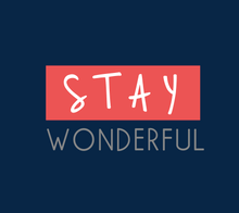 Load image into Gallery viewer, STAY WONDERFUL HALF-SLEEVE T-SHIRT (NAVY BLUE)